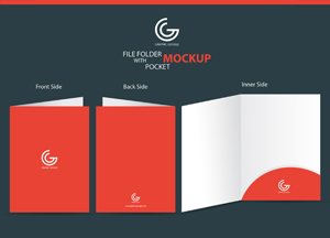 File Folder with Pocket Mockup