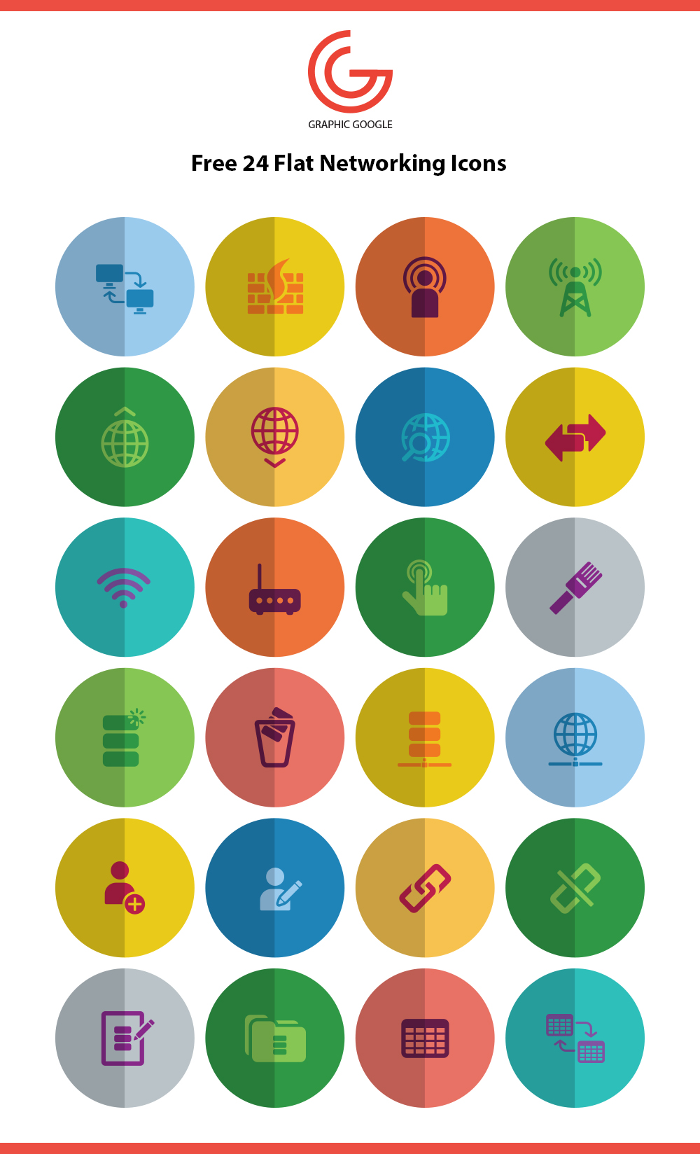 Free 24 Flat Networking Icons