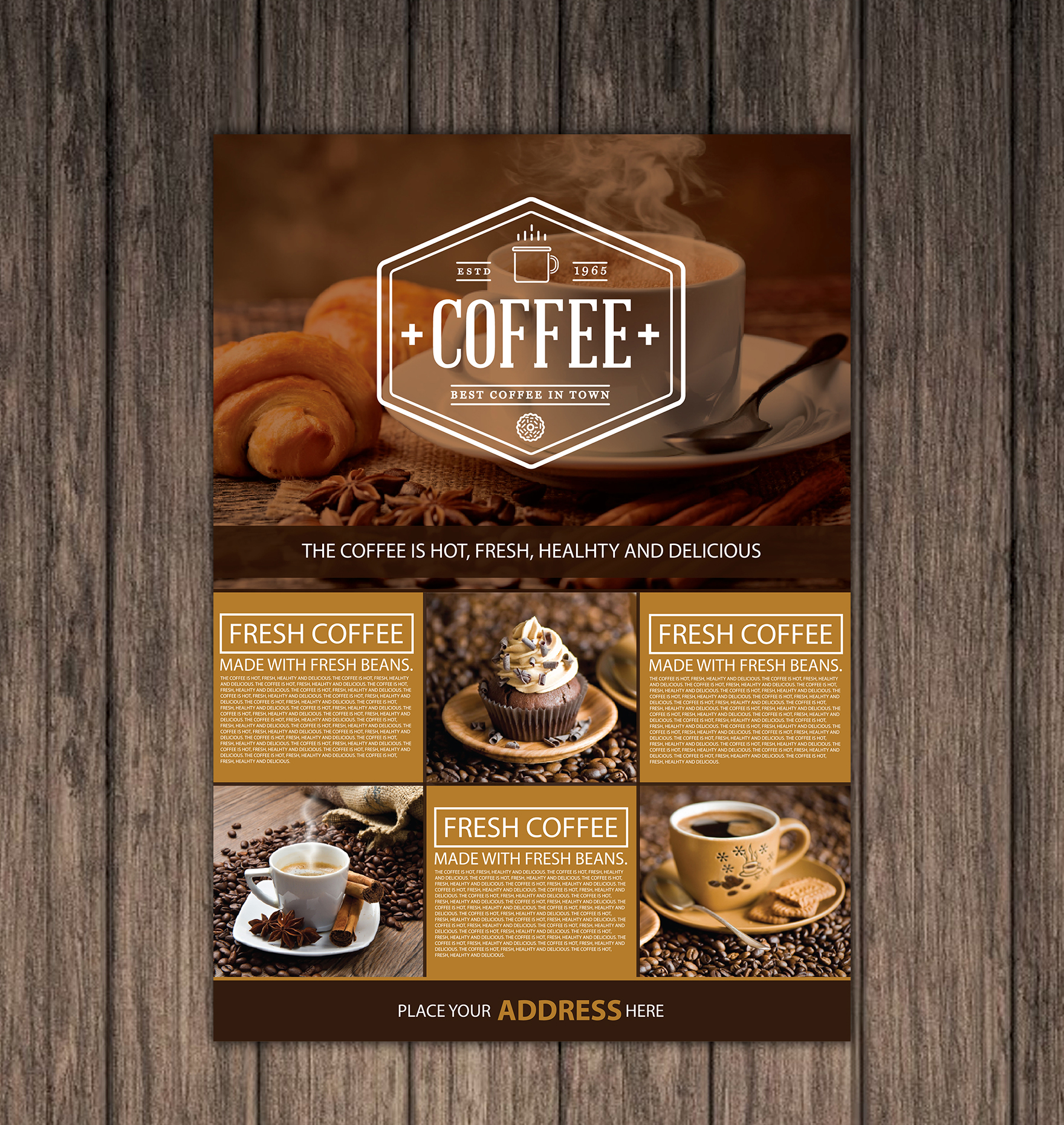 Free Coffee Shop A4 Flyer Preview 1