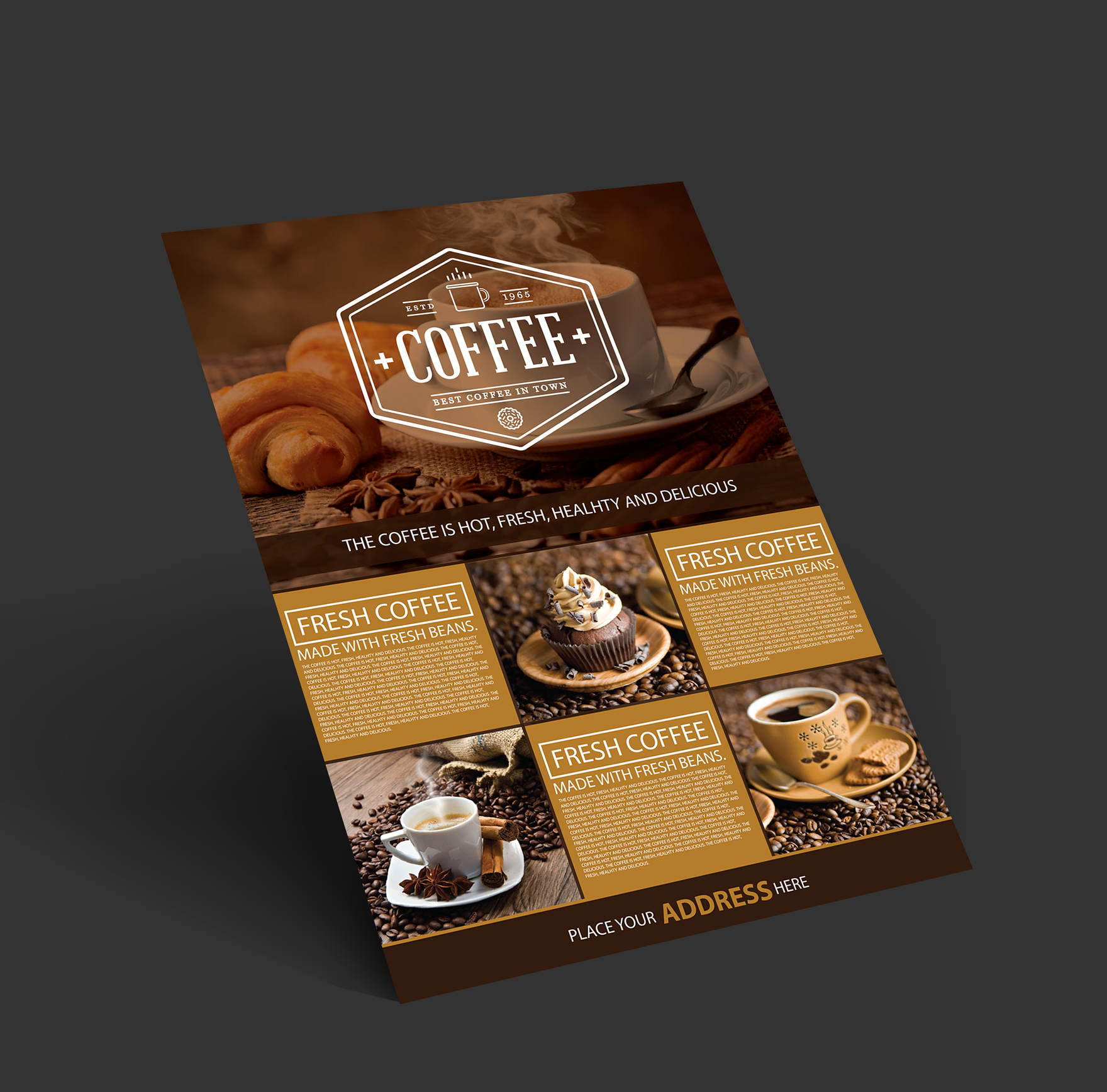 Free Coffee Shop A4 Flyer Preview 2