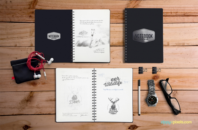 Free Notebook Mockup with Elements-1