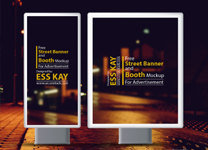 Free Psd Street Banner and Booth Mockup For Advertisement