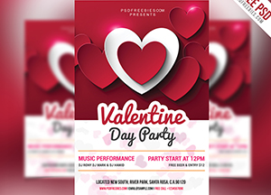 Free Valentine Day Party Psd Flyer