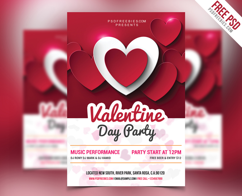 Free Valentine Day Party Psd Flyer Download