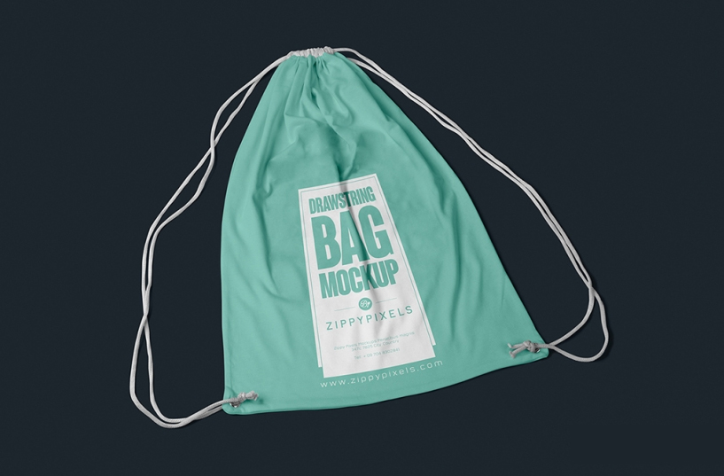 Free Fabric Drawstring Bag Mockup For Designers