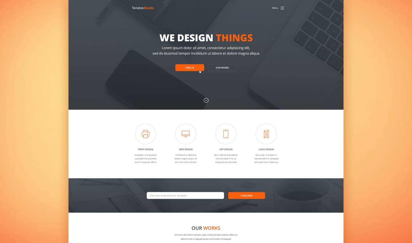 Tanatos Free PSD Template Preview (2)