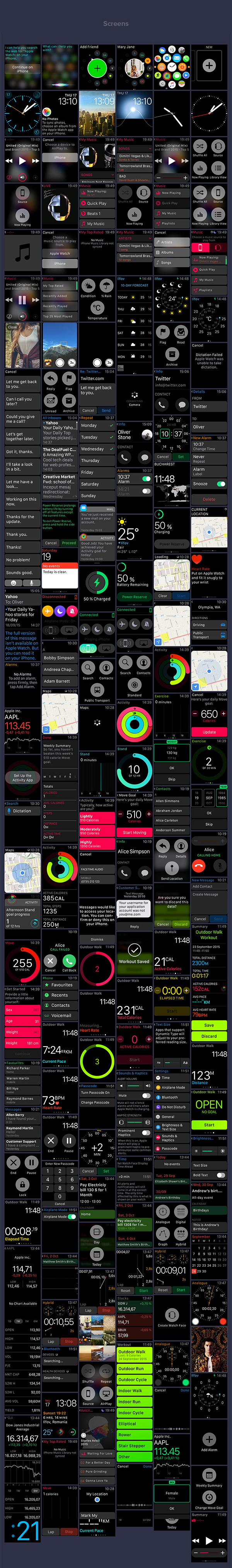 Apple WatchOS 2 Human Interface Complete UI Kit-Apple Watch Screens