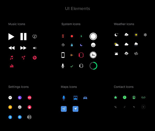 Apple WatchOS 2 Human Interface Complete UI Kit-Apple Watch UI Elements