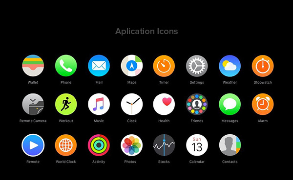 Apple WatchOS 2 Human Interface Complete UI Kit-Application Icons