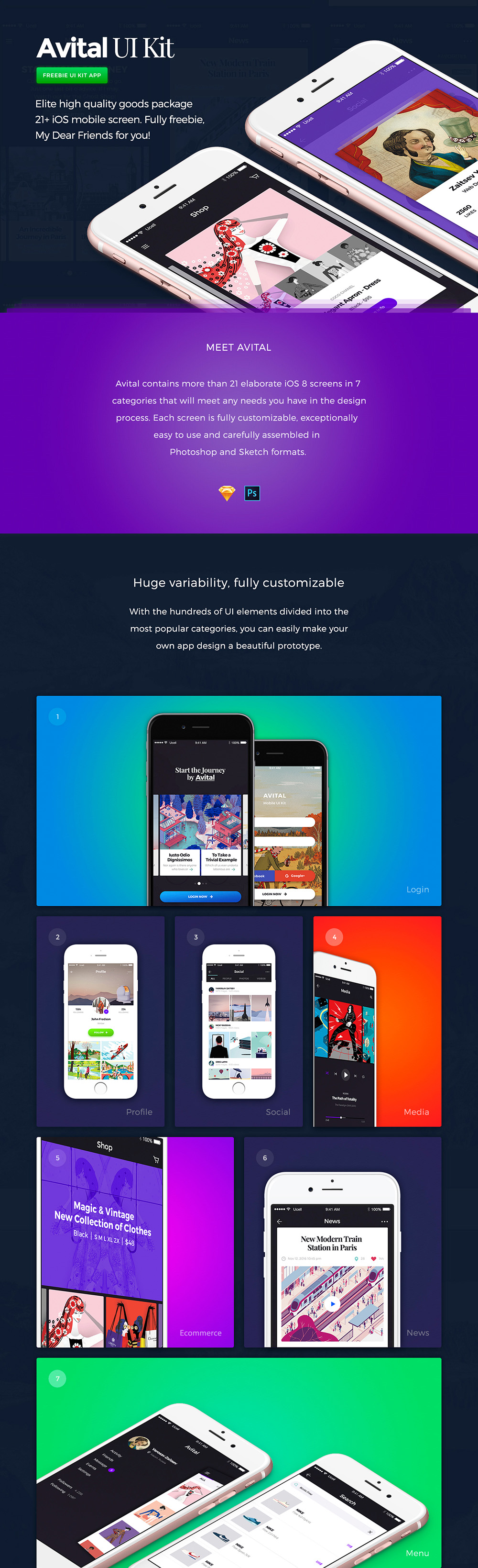 Free Avital UI Kit with Plus 21 iOS Mobile Screen-1