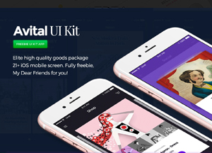 Free Avital UI Kit with Plus 21 iOS Mobile Screen