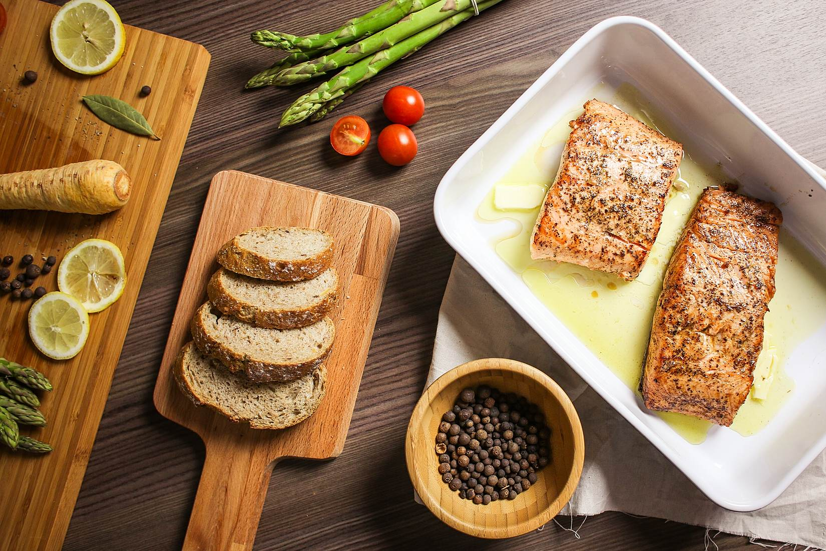 Grilled Salmon Steak is Ready Stock Photo