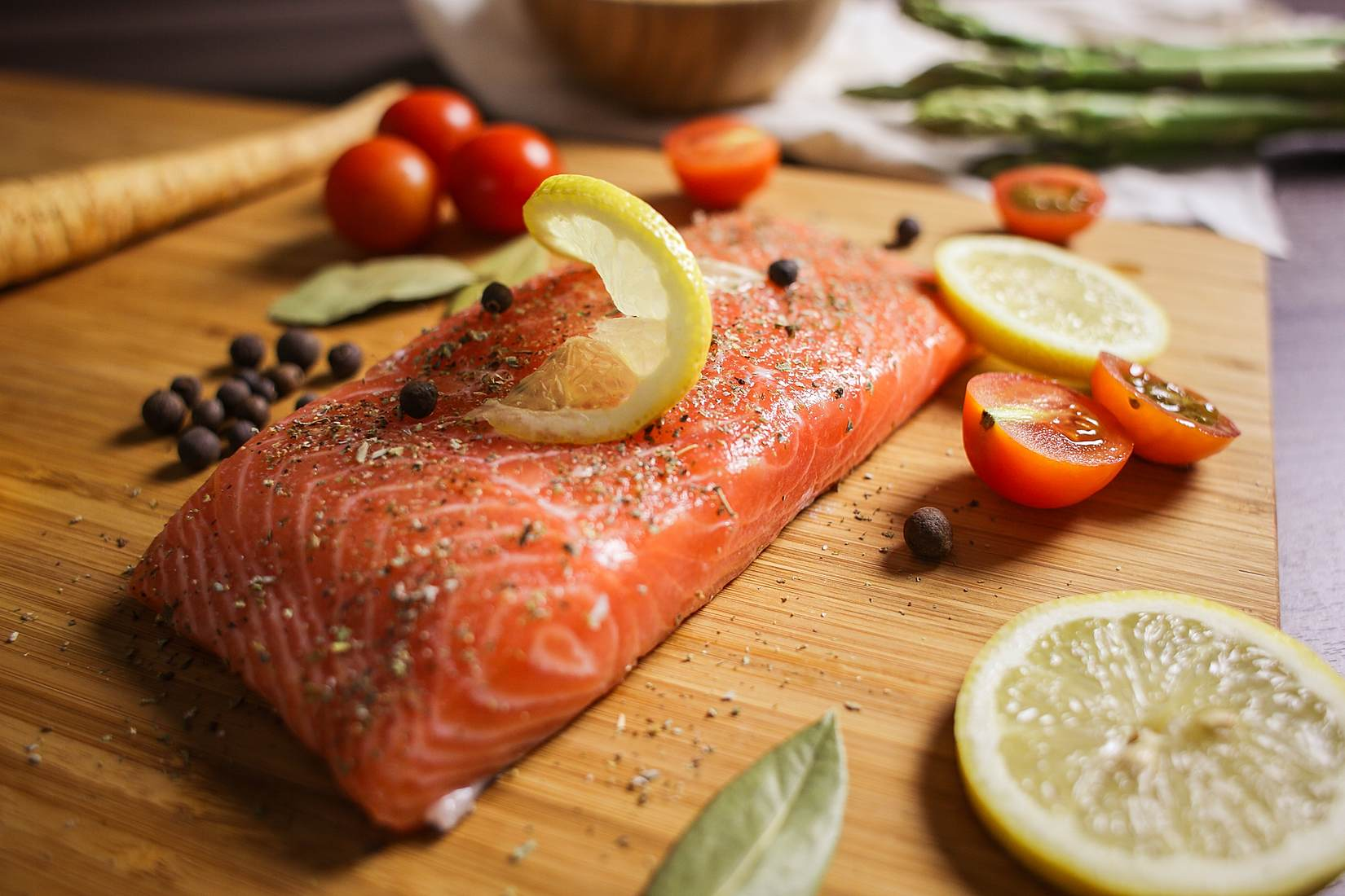 Preparing Salmon Steak Close Up Stock Photo