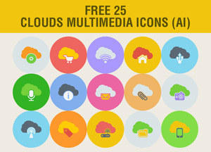 Free 25 Clouds Multimedia Icons Ai