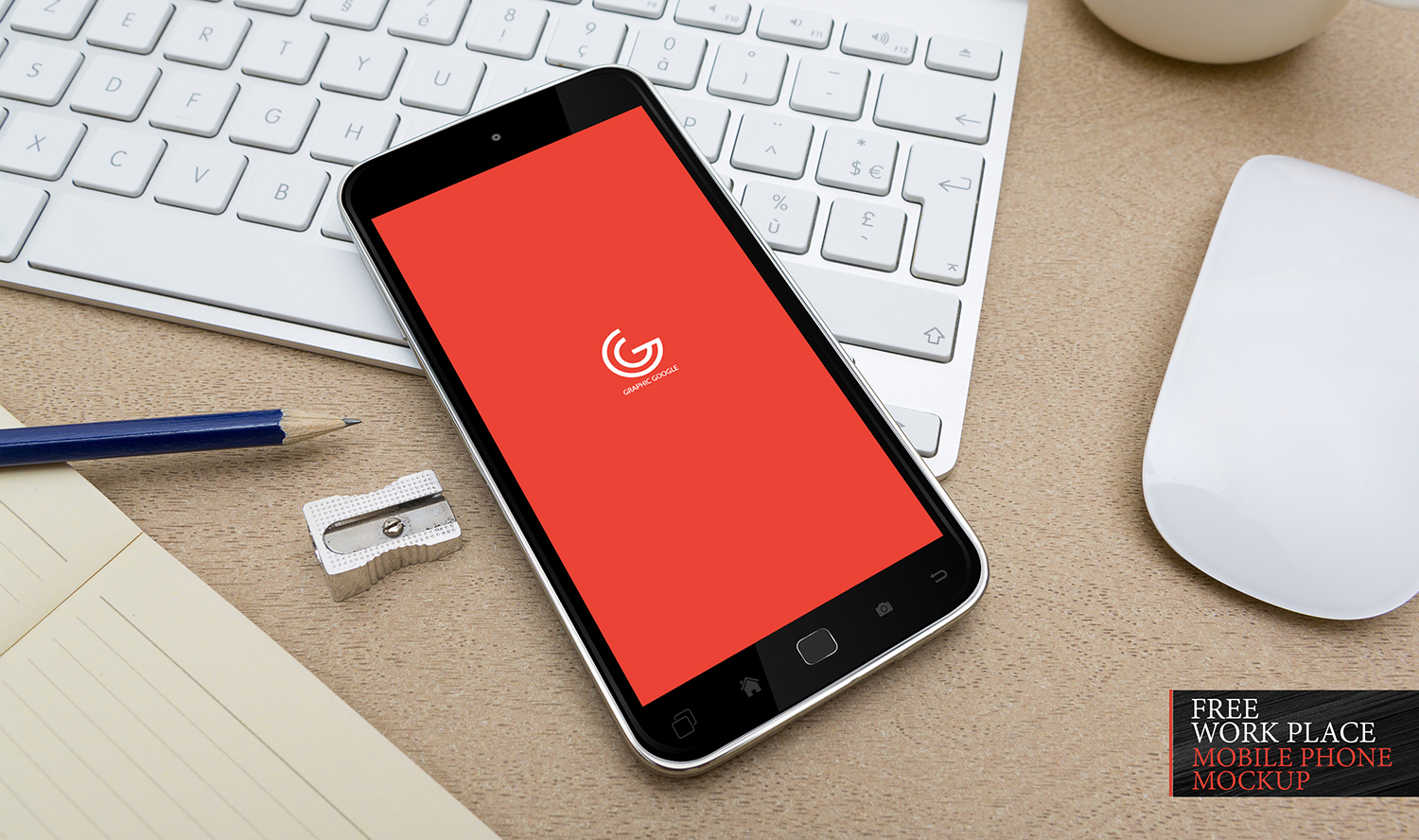 Free Work Place Mobile Phone Mockup