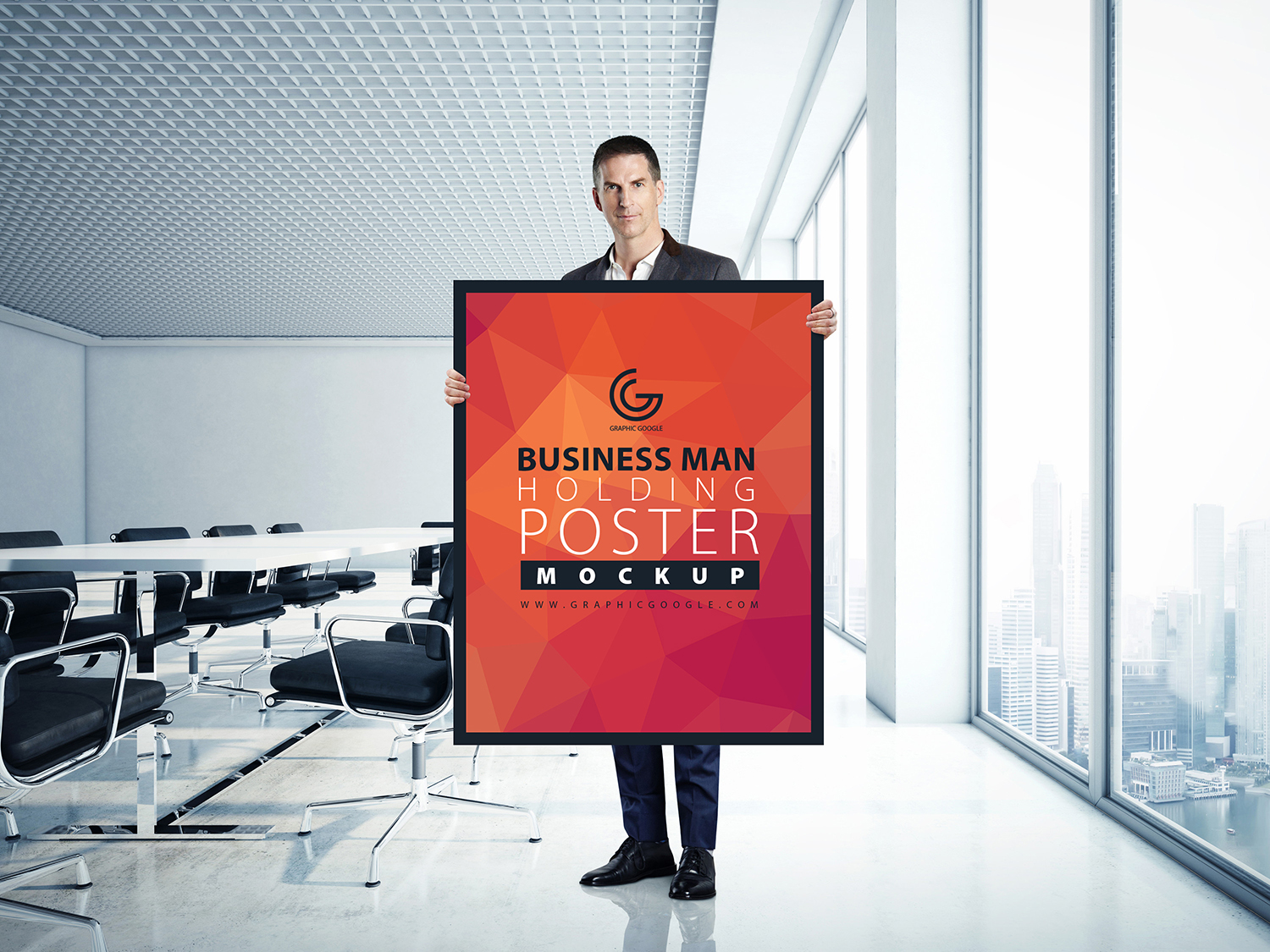 Business Man Holding Poster Mockup-Preview Image