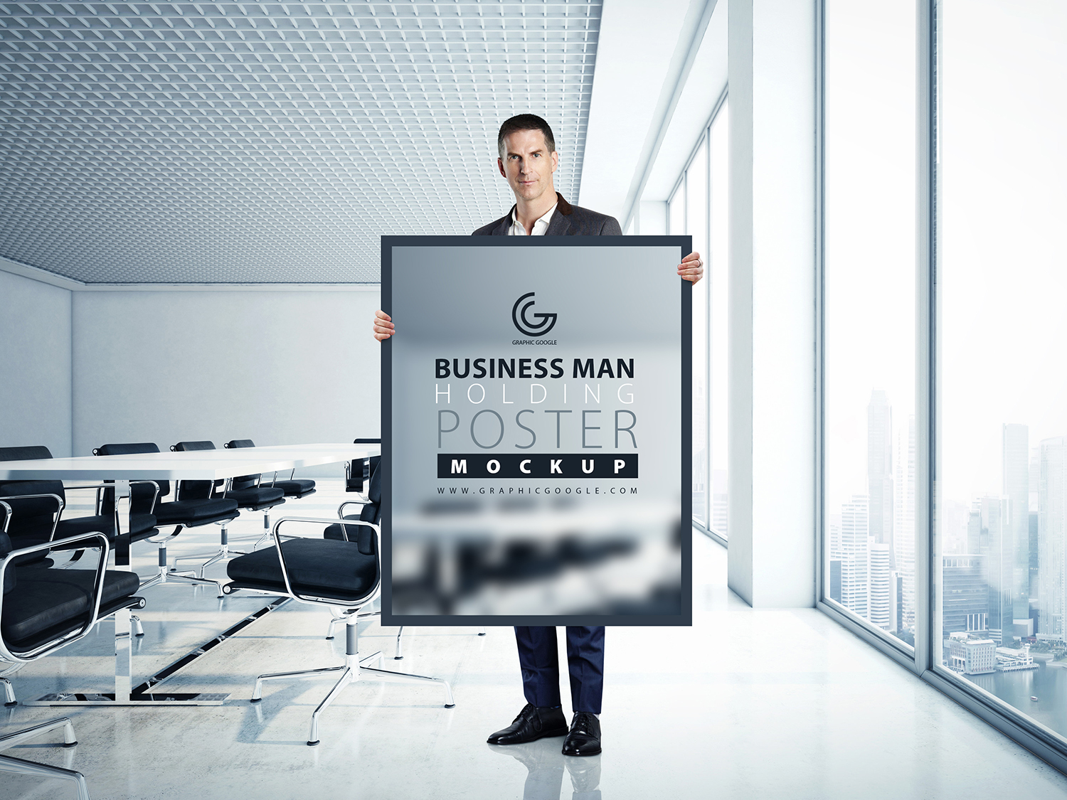 Business Man Holding Poster Mockup-Preview