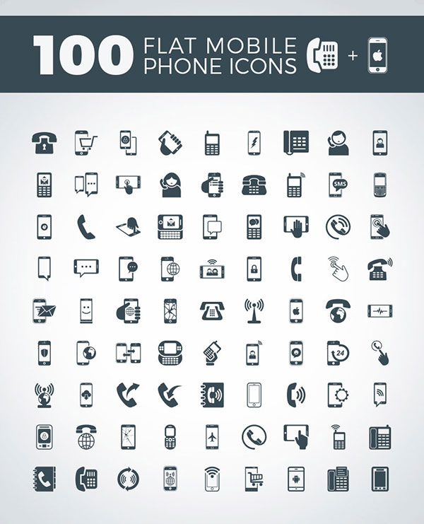 100-flat-mobile-phone-icons-vector-set