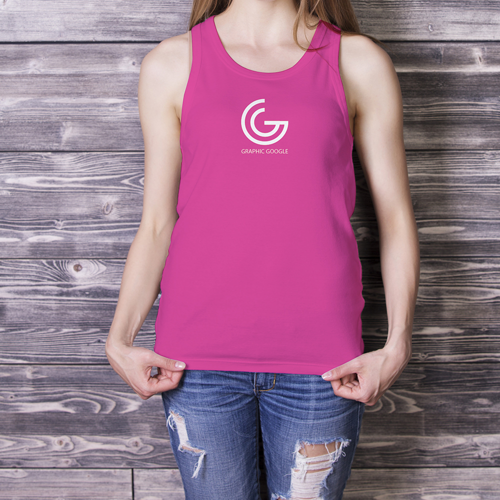 Beautiful Girl in Tank Top Mockup-3