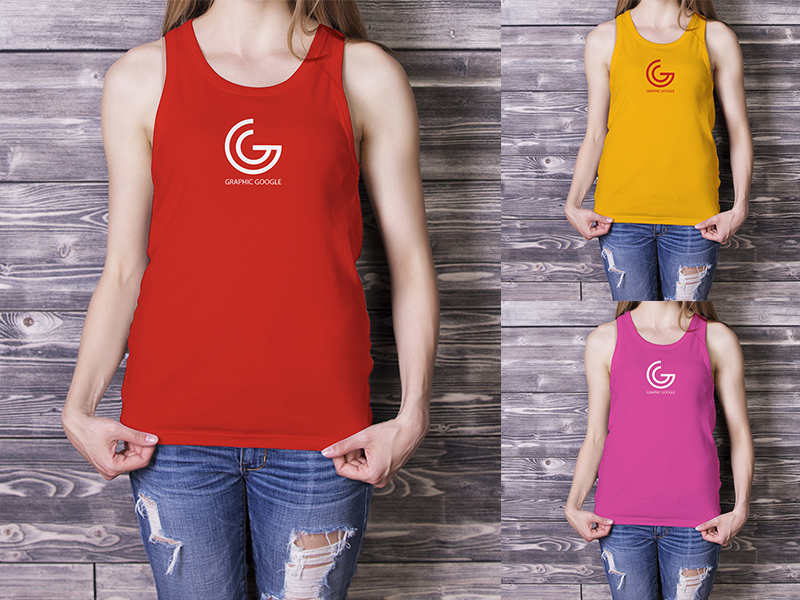 Beautiful Girl in Tank Top Mockup-300