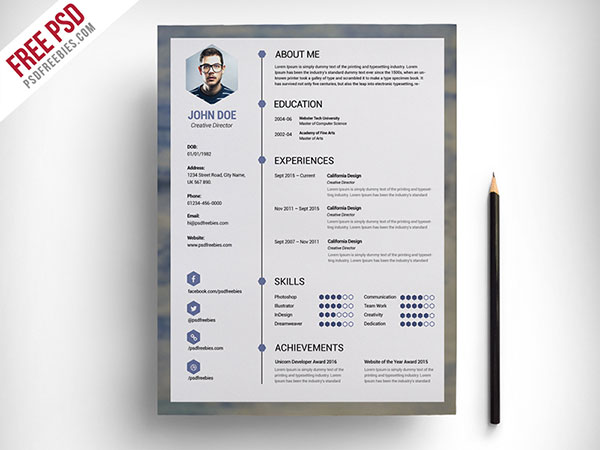 free-clean-resume-psd-template