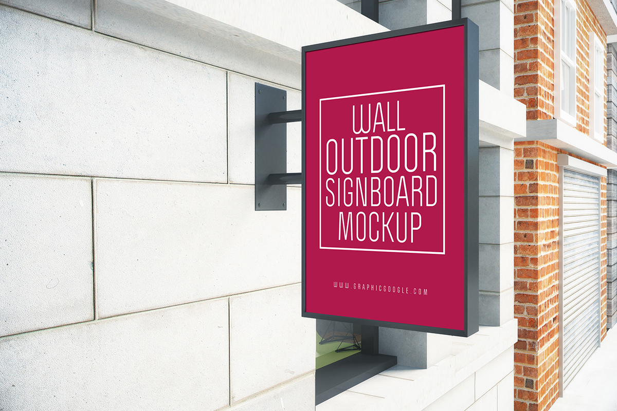 Wall Outdoor Signboard Mockup
