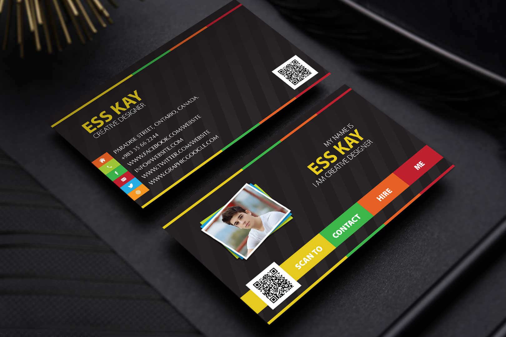 Free Designers Creative Personal Business Card Template PSD - Personal business cards templates