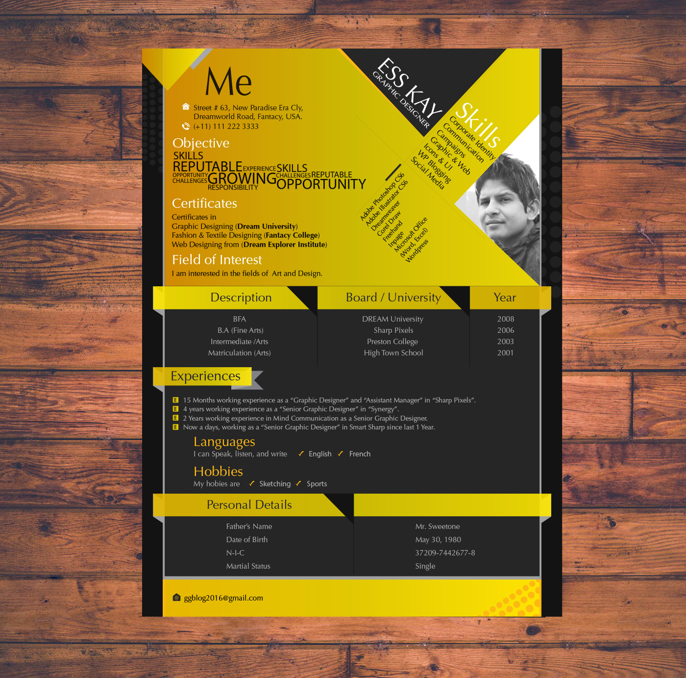 modern resume template design for graphic designers