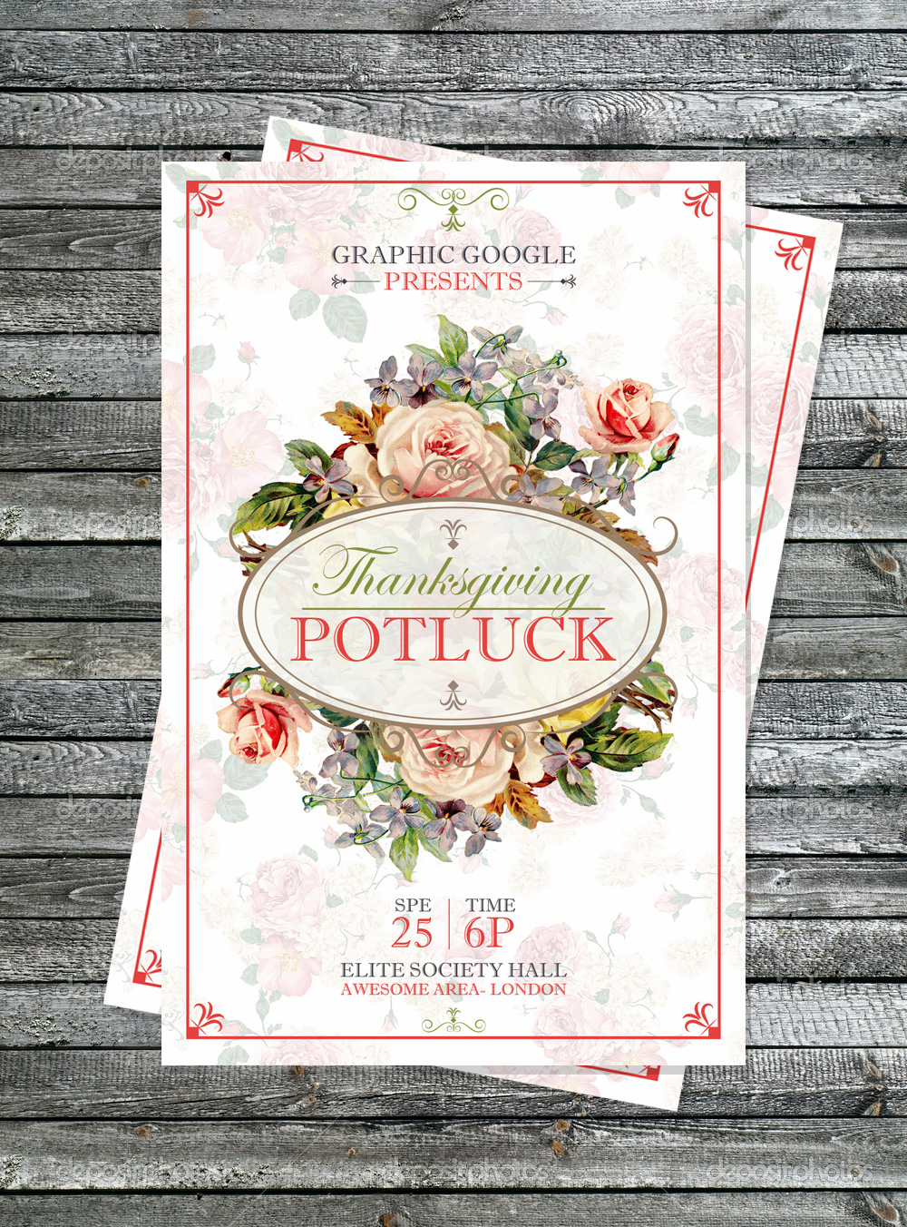 Potluck Thanksgiving Flyer