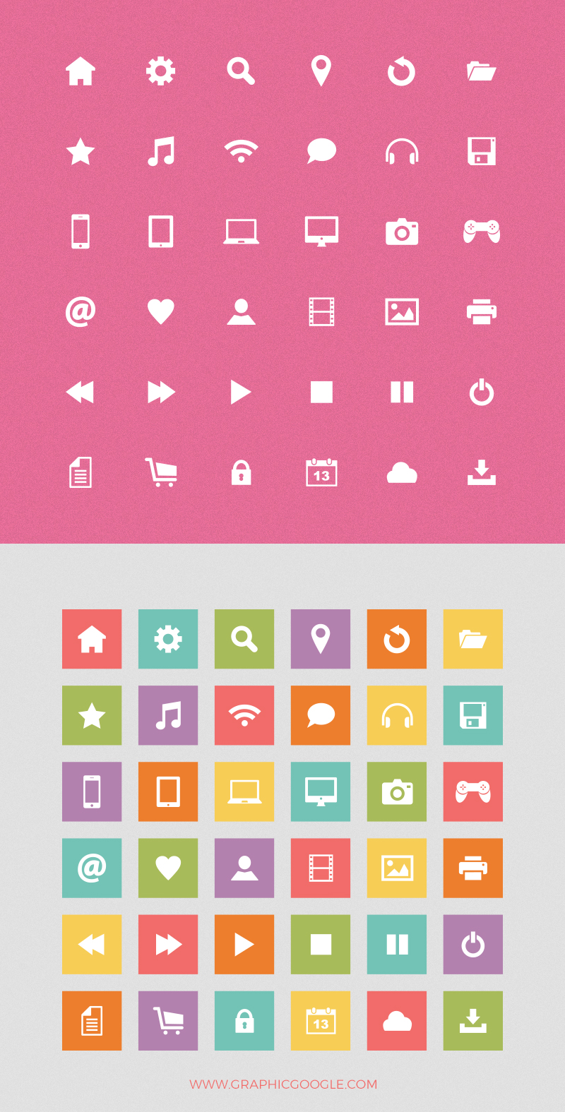 36-free-basic-flat-colorful-icons-preview