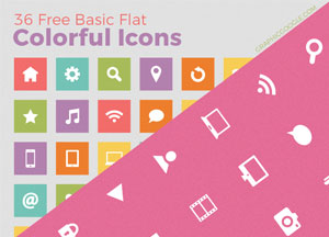 36 Free Basic Flat Colorful Icons