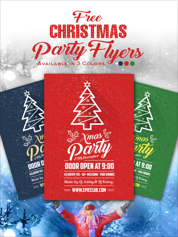 Christmas Party Flyer Ideas Part - 38: Free-a4-christmas-party-flyer-design-template