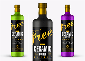 Free Ceramic Bottle Mock-up Psd
