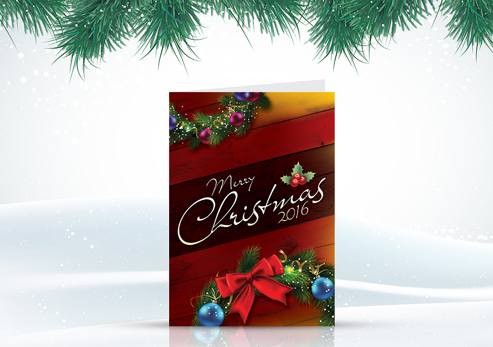 free christmas greetings card design template psd