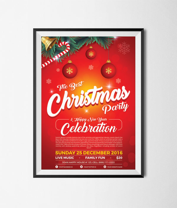 free christmas party happy new year flyer template