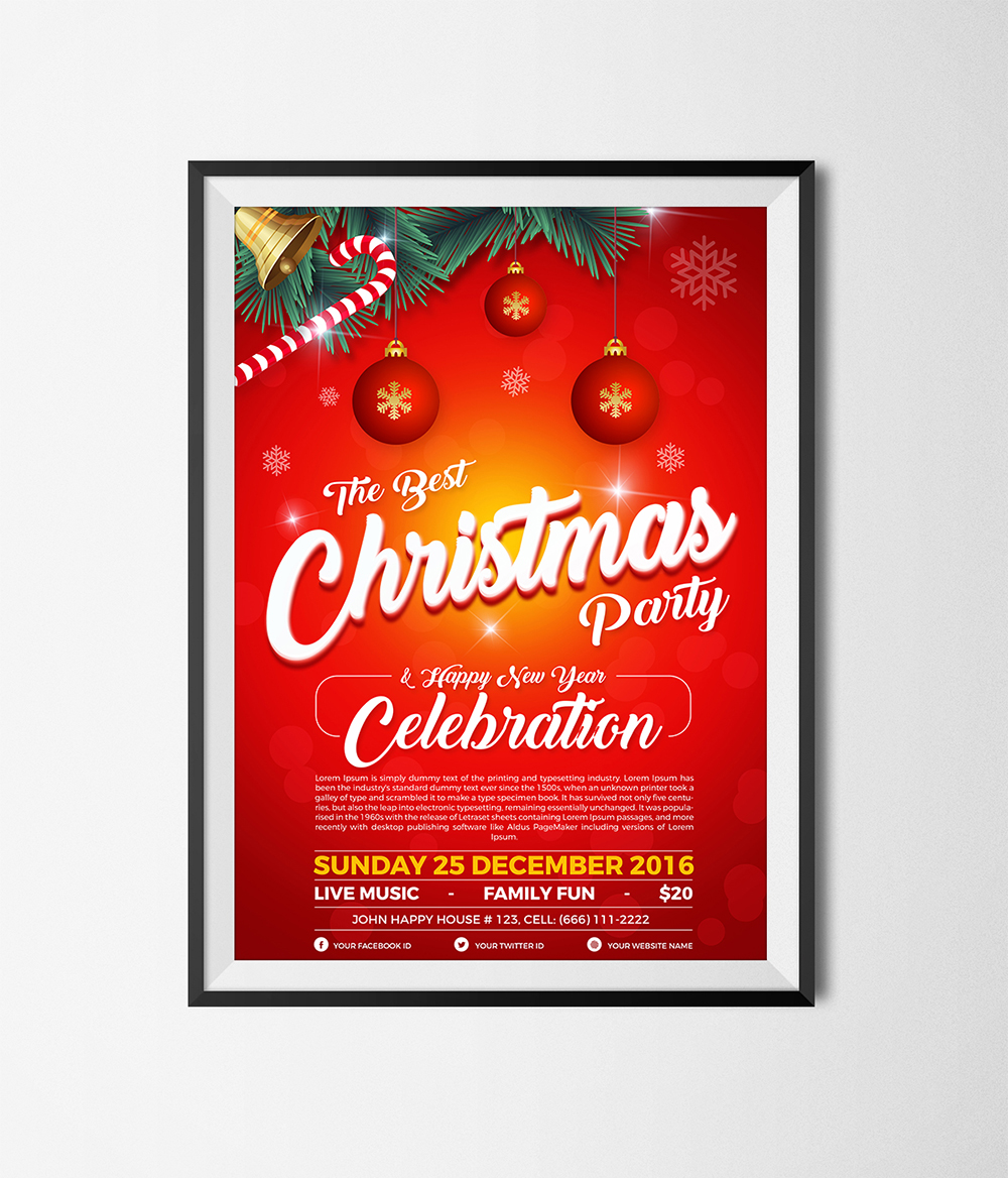 christmas party happy new year flyer template