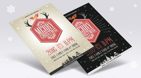 free-vector-vintage-party-christmas-flyer-template
