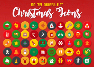 100 Free Colorful Flat Christmas Icons Vector (Ai File)