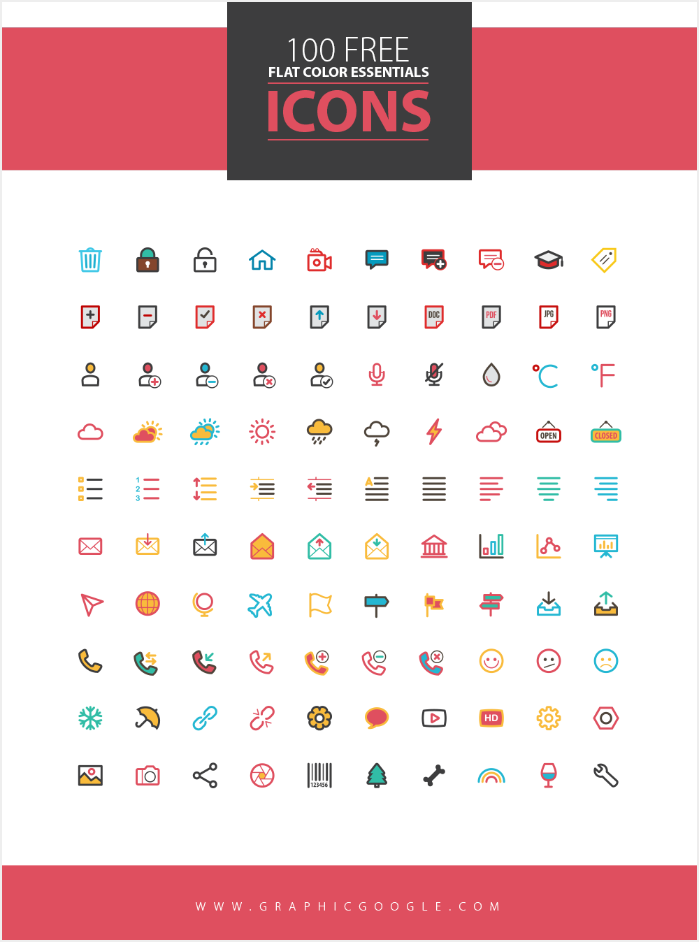 100-Free-Flat-Color-Essentials-Icons-Ai-Vector-File