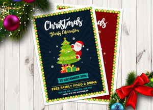 Free Christmas Party Celebration Flyer Template in Ai (Vector File)