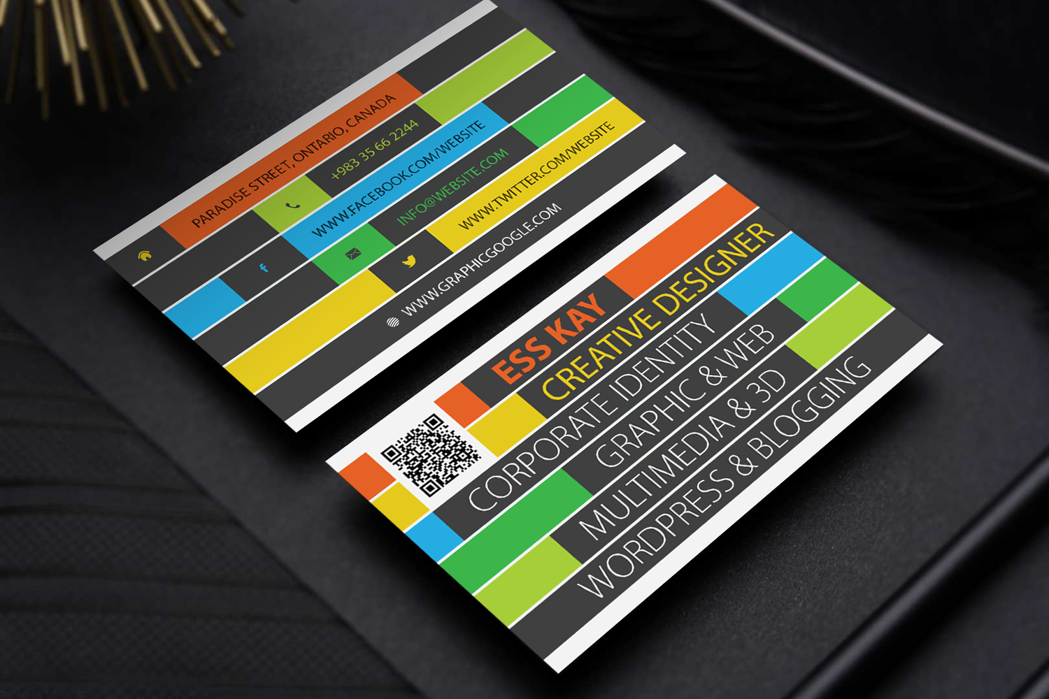 Free creative business card template design ai vector file accmission Image collections