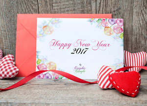 Free New Year Greeting Card Mock-up Psd & Template Design