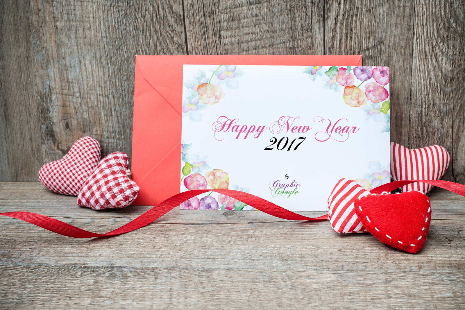 Free New Year Greeting Card Mock Up Psd Template Design