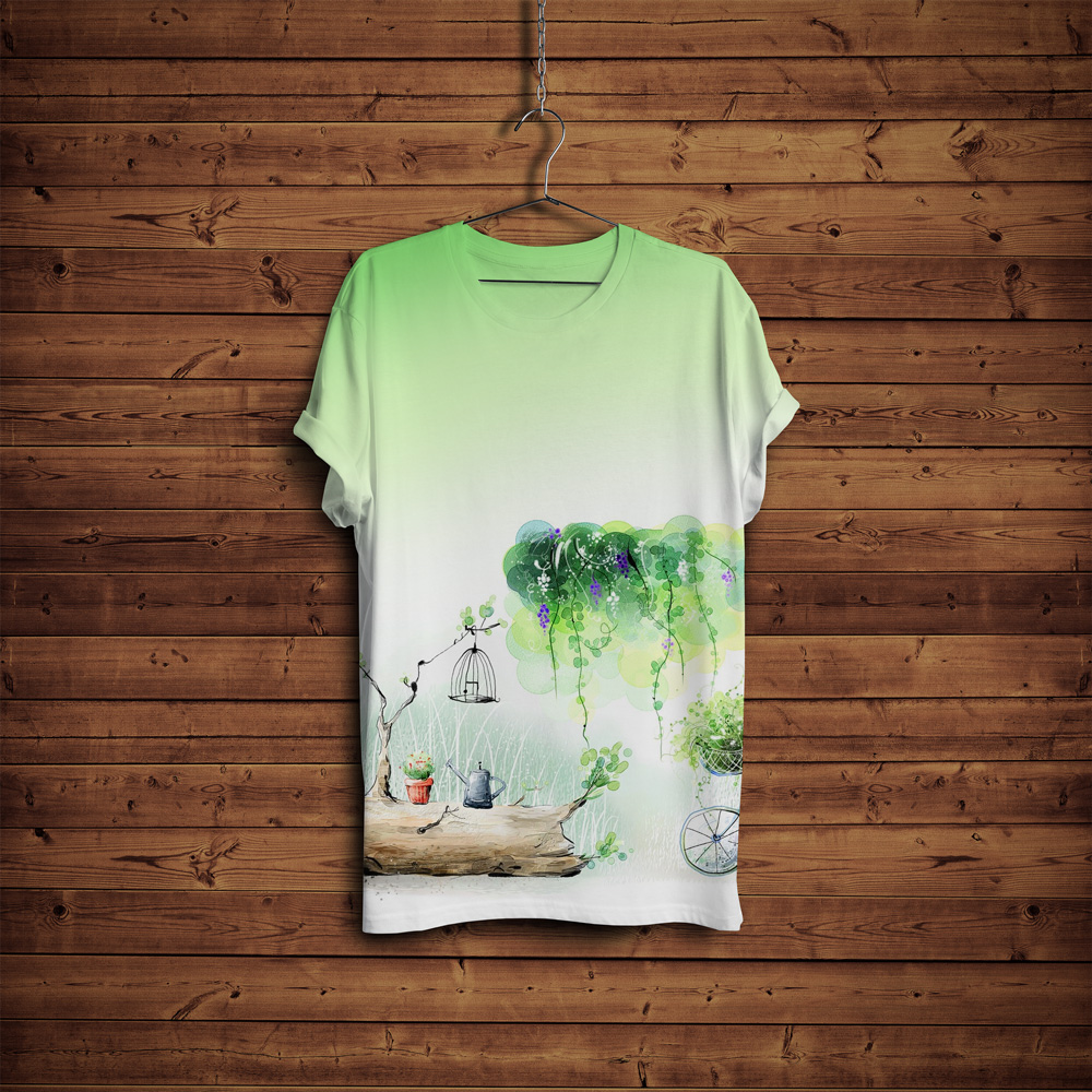 Free-T-Shirt-Mock-up-with-Hanger-&-Wooden-Background-4