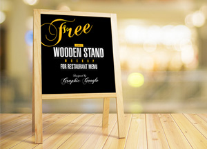 Free Wooden Stand MockUp For Restaurant Menu