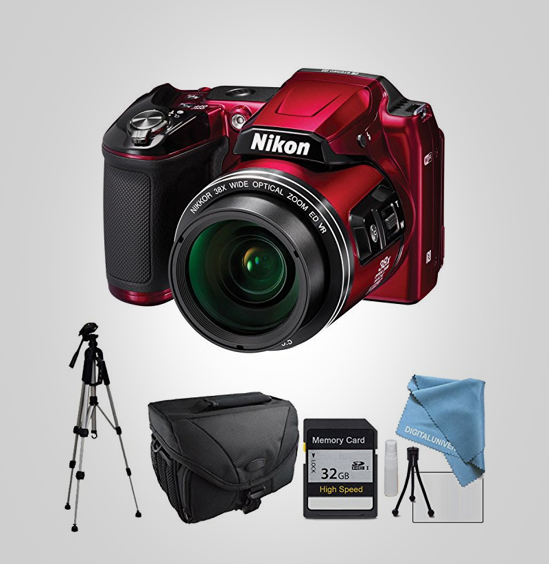 Nikon-COOLPIX-L840-Red,-Full-Size-Tripod,-Camera-Case,-Memory-Card