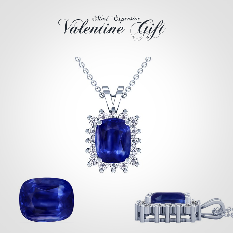 18K-White-Gold-Cushion-Cut-Blue-Sapphire-And-Round-Diamond-Pendant