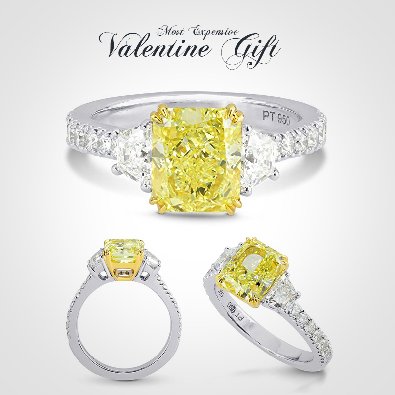 3.08Cts-Yellow-Diamond-3-Stone-Ring-Set-in-Platinum-GIA-Certificate-Size-6