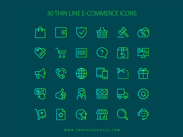 30-Free-Thin-Line-E-Commerce-Icons
