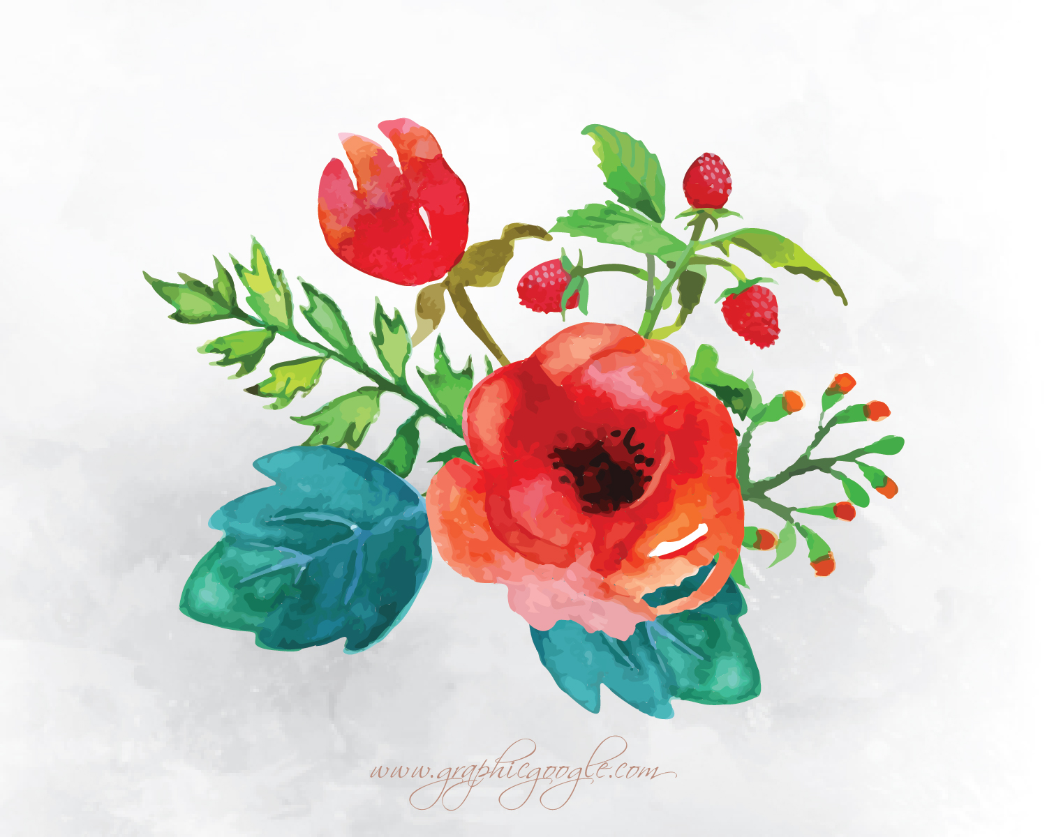 9 Free Watercolor Flower Vectors For Designers-09